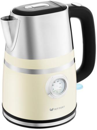 купить Чайник электрический KITFORT КТ-670-3 2200 Вт бежевый 1.7 л металл онлайн