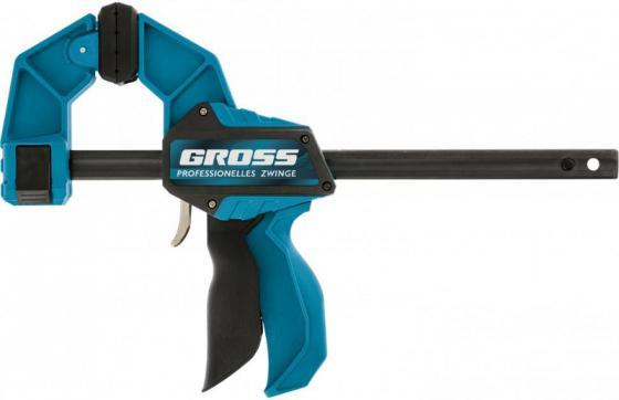 Струбцина GROSS 20702 реечная быстрозаж. пистолет. пошаг.механизм пл. корпус 300мм струбцина реечная быстрозажимная пл корпус рыч храп мех 200 90 290 мм штанга 5 20мм matrix