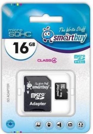 цена на Карта памяти Micro SDHC 16GB Smartbuy Сlass 4 (с адаптером SD)