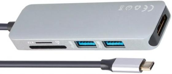 Фото - Концентратор USB Type-C VCOM Telecom CU430M HDMI 2 х USB 3.0 серый кабель концентратор usb 3 1 type c male 3 port usb3 0 hub microusb type b female lan vcom
