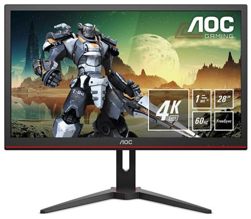 Фото - МОНИТОР 28 AOC G2868PQU Black (LED, 3840x2160, 1 ms, 170°/160°, 300 cd/m, 50M:1, +HDMI 1.4, +HDMI 2.0, +DisplayPort 1.2 аксессуар mobiledata hdmi 4k v 2 0 плоский 1 8m hdmi 2 0 fn 1 8