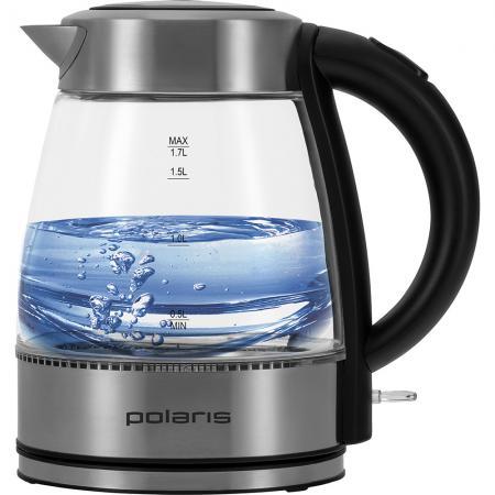лучшая цена Чайник электрический Polaris PWK 1764CGL 2200 Вт чёрный 1.7 л стекло