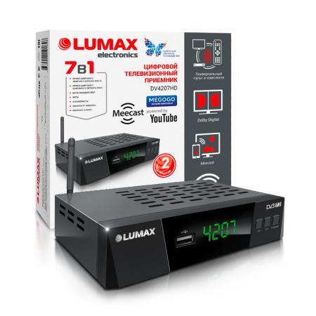 Приставка DVB-T2 LUMAX/ GX3235S, эфирный + кабельный, Металл, 3 кнопки, дисплей, USB, 3RCA, HDMI, внешний б/п, встроенный Wi-Fi адаптер, Кинозал LUMAX (более 500 фильмов)