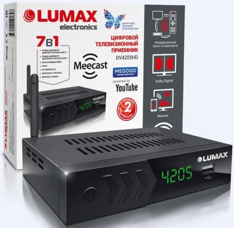 Приставка DVB-T2 LUMAX/ GX3235S, эфирный + кабельный, Металл, 7 кнопок, дисплей, USB, 3RCA, HDMI, внешний б/п, встроенный Wi-Fi адаптер, Кинозал LUMAX (более 500 фильмов)