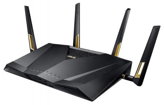 Беспроводной маршрутизатор ASUS RT-AX88U 802.11abgnacadax 5952Mbps 2.4 ГГц 5 ГГц 8xLAN USB черный 90IG04F0-MN3G00 беспроводной маршрутизатор asus rt ac 5300