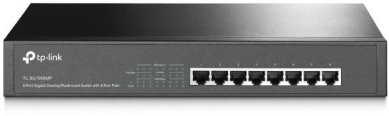8-Port Gigabit PoE+ Switch, 8 RJ45 Ports, 802.3at/af, 126W PoE Power, 1U 13-inch Rack-mountable Steel Case