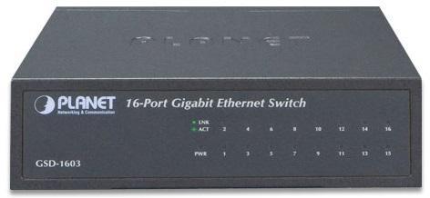 16-Port 10/100/1000Mbps Gigabit Ethernet Switch (External Power) - Metal Case