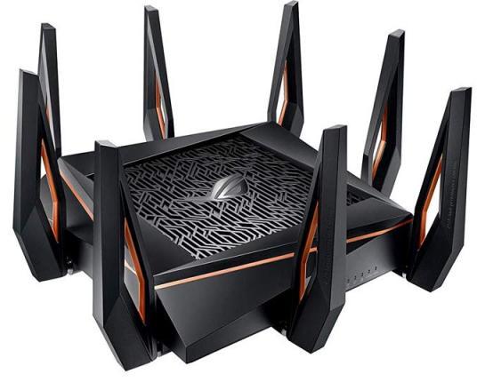Беспроводной маршрутизатор ASUS GT-AX11000 802.11abgnacadax 5952Mbps 2.4 ГГц 5 ГГц 4xLAN USB черный 90IG04H0-MO3G00 маршрутизатор asus rt n18u 802 11bgn 600mbps 2 4 ггц 4xlan usb3 0 черный