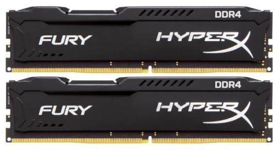 Модуль памяти DDR4 Kingston 8Gb KIT (4GbX2) 3200MHz HyperX FURY Black Series CL18 [HX432C18FBK2/8] модуль памяти dimm 8gb ddr4 pc21300 2666mhz kingston hyperx fury white cl16 hx426c16fw2 8