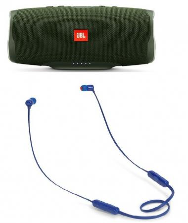 лучшая цена Портативная акустика JBL Charge 4 + наушники T110BT зеленый JBLCHARGE4GRN/JBLT110BTBLU