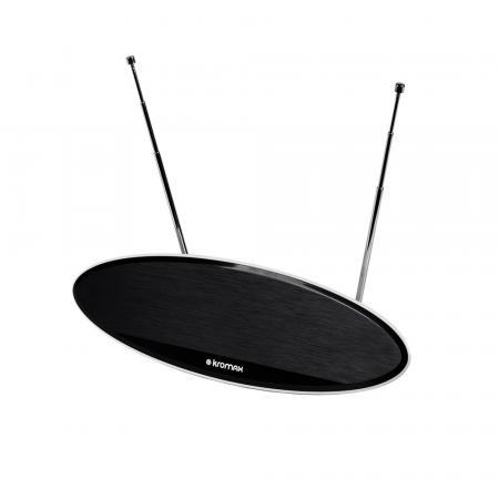 Телевизионная антенна Kromax TV FLAT-04 black Комн. акт. антенна, VHF: 87,5-230 МГц, UHF: 470-860 МГц, коэф. ус 28dB питание: адапт. в комплекте