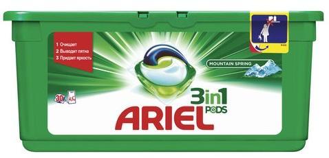 Стиральный порошок-автомат капсулы 30 шт. по 28,8 г, ARIEL (Ариэль) Горный родник цена