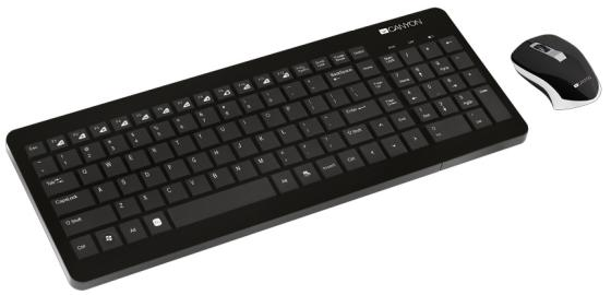 CANYON CNS-HSETW3-RU {wireless combo-set, keyboard 104 keys, chocolate key caps, RU layout (black); mouse adjustable DPI 800/1200/1600, 3 buttons, 2.4GHz, black}