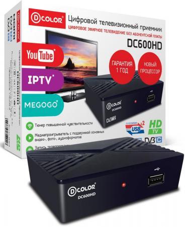 Ресивер DVB-T2 D-Color DC600HD черный {DVBC, DVBT-2, DVB-T, GX3235S, 2*USB,HDMI, 720p,1080i,1080p} цена и фото
