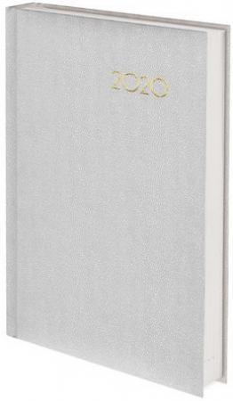 "Ежедневник датированный 2020 А5, BRAUBERG ""Select"", кожа классик, белый, 138х213 мм, 129716"