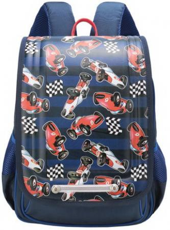цены на Ранец GRIZZLY школьный, анатомическая спинка, для мальчиков, Автогонки, 26х35х15 см, RA-976-3/1  в интернет-магазинах