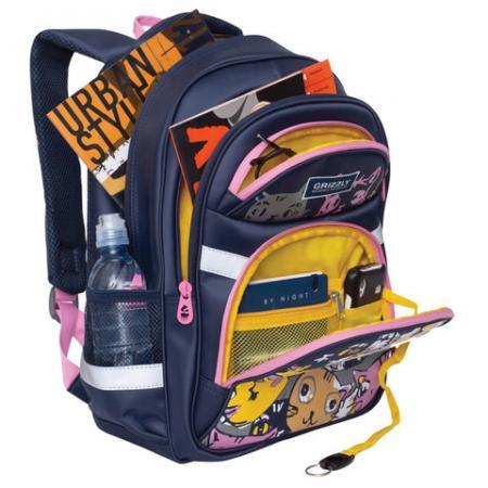 Школьный рюкзак с анатомической спинкой GRIZZLY Арт Коты 13,5 л синий рисунок цена
