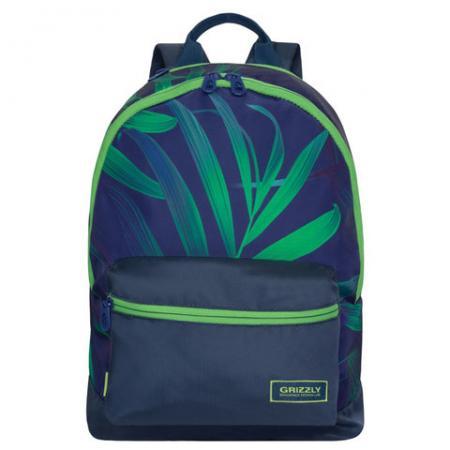 Городской рюкзак ручка для переноски GRIZZLY Листья 13 л синий зеленый RX-940-4/1 рюкзак городской grizzly цвет синий ru 804 1 4