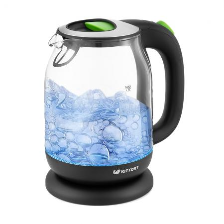 Чайник электрический Kitfort КТ-654-2 1.7л. 2200Вт зеленый (корпус: стекло) чайник электрический kitfort кт 654 1 1 7л 2200вт голубой корпус стекло
