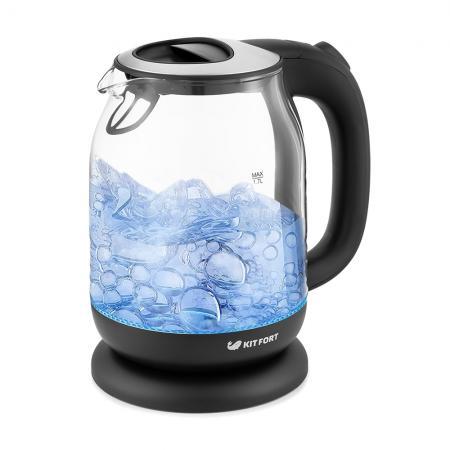 Чайник электрический Kitfort КТ-654-6 1.7л. 2200Вт черный (корпус: стекло) чайник электрический kitfort кт 654 1 1 7л 2200вт голубой корпус стекло