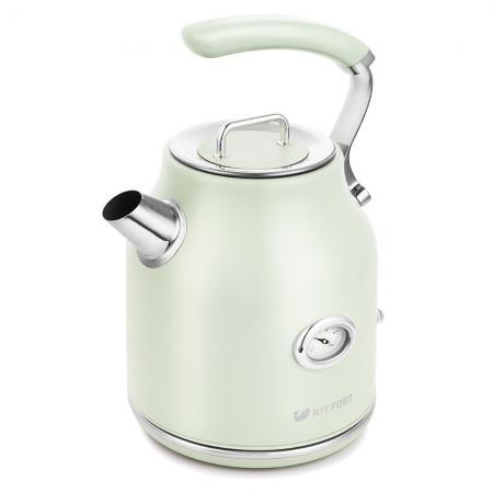 Чайник электрический Kitfort КТ-663-4 1.7л. 2200Вт мятный (корпус: металл) чайник электрический kitfort кт 663 1 1 7л 2200вт бежевый