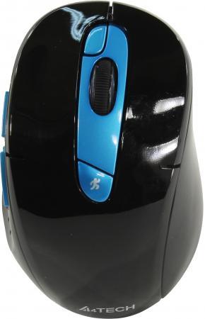 Мышь беспроводная A4TECH Rechargeable 2.4G чёрный синий USB + радиоканал мышь беспроводная hp 200 silk золотистый чёрный usb 2hu83aa