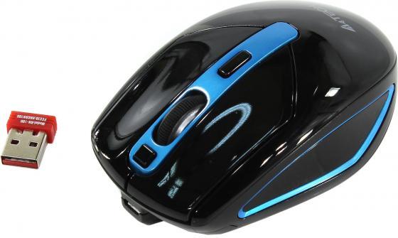 Мышь A4 V-Track G11-590FX черный/синий оптическая (2000dpi) беспроводная USB (6but) все цены
