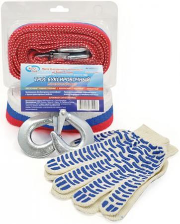 Трос AUTOVIRAZH AV-600050 буксировочный 5т 5м лента с 2 крюками в блистере +перчатки трос буксировочный зубр эксперт 2 крюка сумка 5м 2 5т