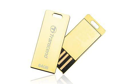 цена на Флеш-накопитель Transcend 64GB JETFLASH T3G (Gold) USB 2.0 накопитель, металлический корпус, золотой, Ультракомпактный