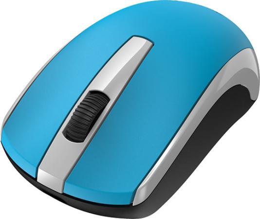 Мышь беспроводная Genius ECO-8100 голубой белый чёрный USB + радиоканал цена и фото